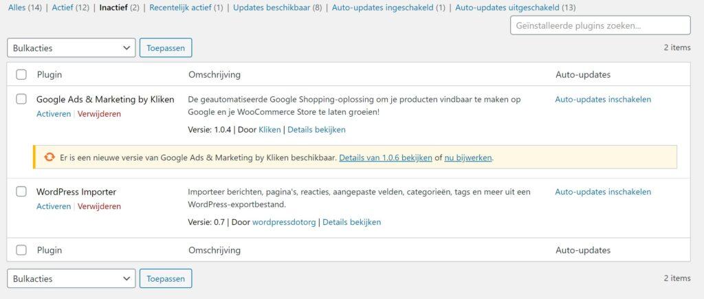 Inactieve plugins in WordPress verwijderen