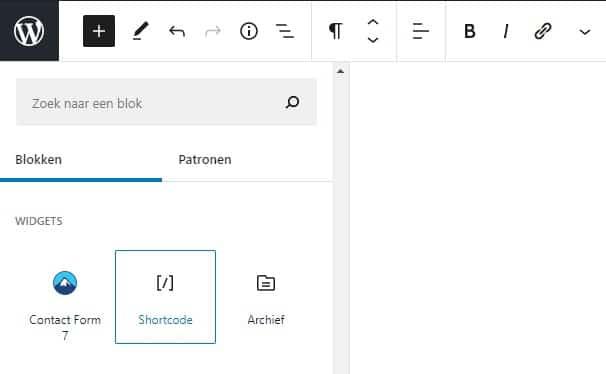 WordPress shortcodes invoegen widget