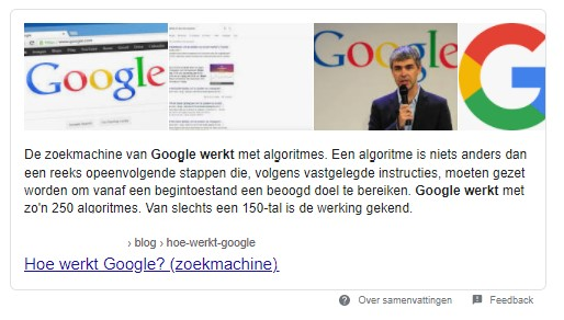 Snippet Hoe werkt Google