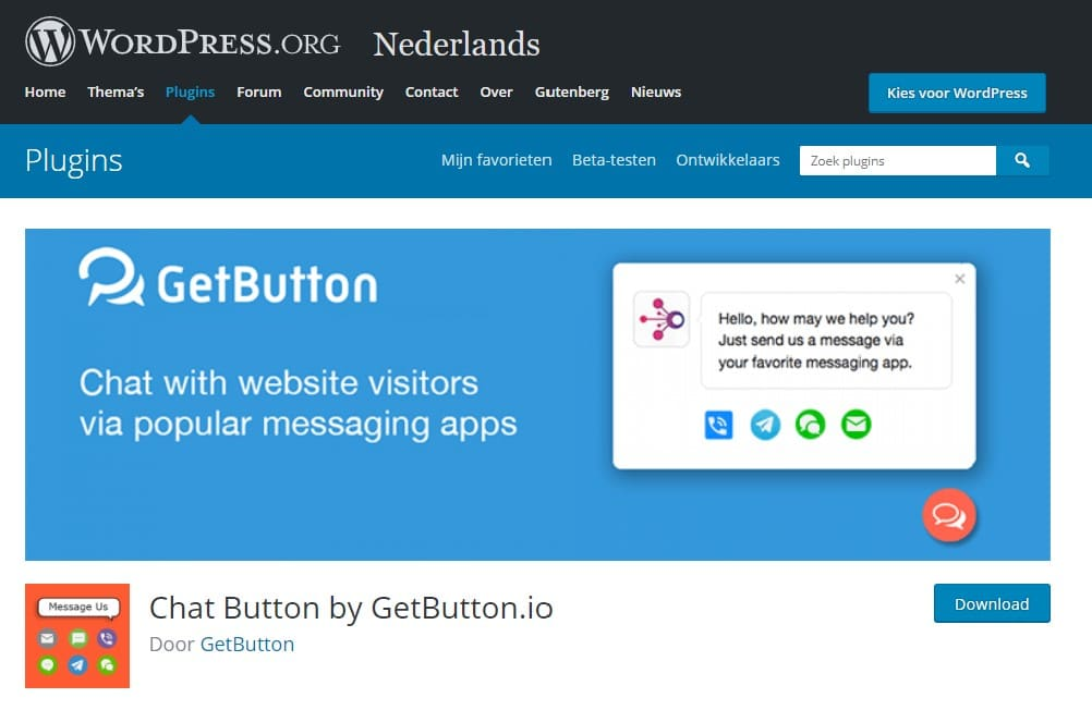 Chat Button plugin van Getbutton.io