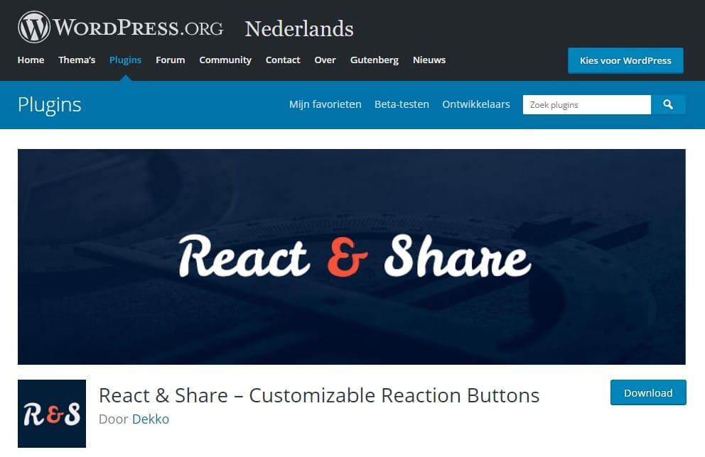React and Share WordPress plugin