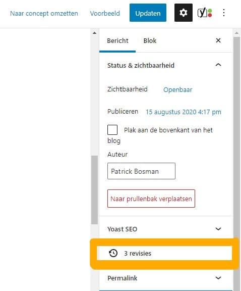 Revisies in WordPress menu