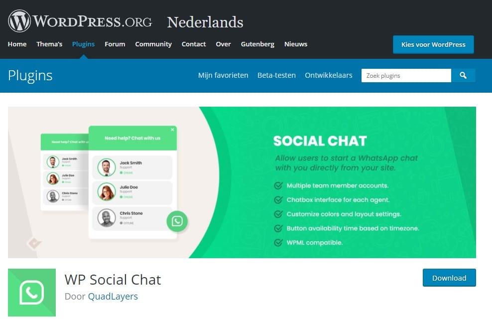 WordPress plugin Social Chat