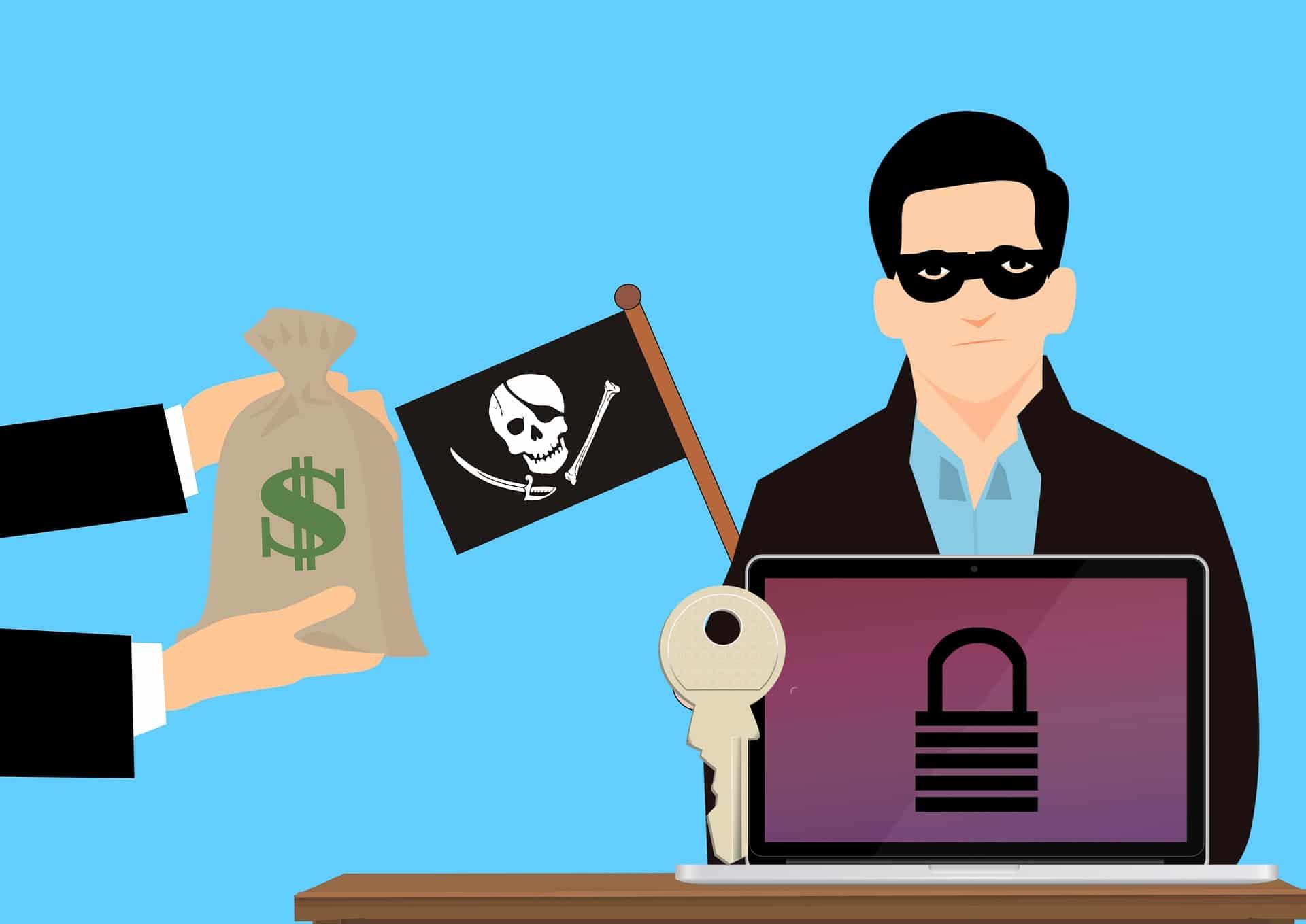 Hackers op het internet die geld vragen