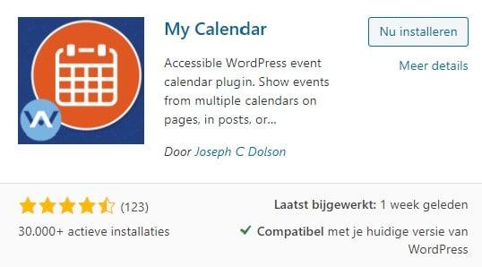 WordPress My Calendar plugin