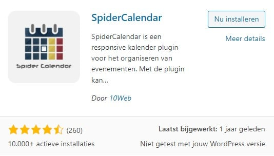 WordPress Spider Calendar plugin