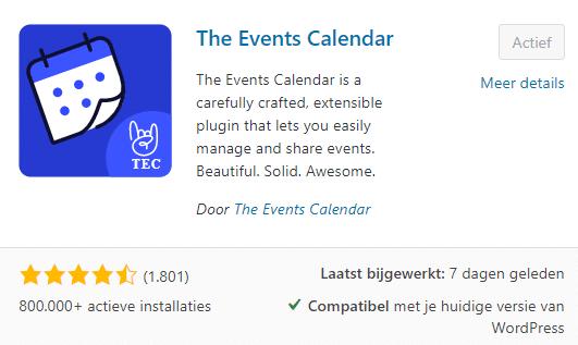 WordPress The Events Calendar